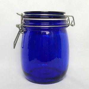 Vintage cobalt blue small canister seal jar